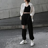 Mikiko Pearls High Waisted Hollow Out Pants