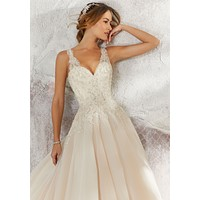 Blu by Morilee 5697 Lily Silver Embroidered Ball Gown Wedding Dress