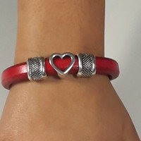 Red Licorice Leather Bracelet with Open Heart and Dimpled Silver Accents with Magnetic Clasp