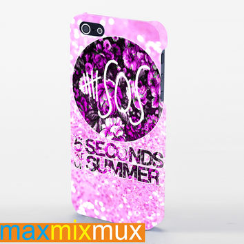 5Sos, 5 Seconds Of Summer On Classic Floral On Pink Glitter iPhone 4/4S, 5/5S, 5C Series Full Wrap Case