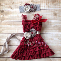 Original burgundy silver gray 3 pc set, dress, sash, headband, birthday outfit, special occasion, holiday outfit