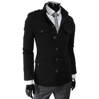 TheLees Mens Single Breasted Slim Fit Stretchy Jacket