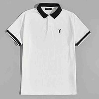 Fashion Casual Men Embroidery Detail Ringer Polo Shirt