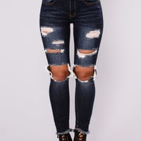 All Of My Love Ankle Jeans - Dark Denim