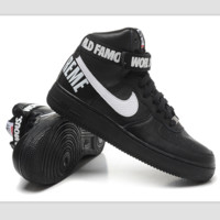 NIKE Women Men Running Sport Casual Shoes Sneakers Air force High tops 94 Black white hook