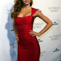 Bandages Dress Sexy Prom Dress Red One Piece Dress [4920530628]