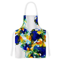 """Sonal Nathwani """"Blue Orange Floral"""" Abstract Watercolor Artistic Apron"""
