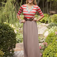 Treasure Island Belted Maxi Dress