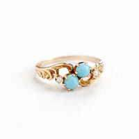 Antique 10k Rose Gold Victorian Turquoise & Seed Pearl Ring - Vintage Late 1800s Size 7 Blue and White Gem Swirled Repousse Fine Jewelry