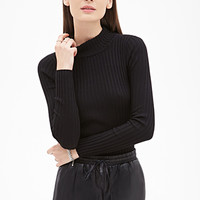 FOREVER 21 Ribbed High-Neck Sweater
