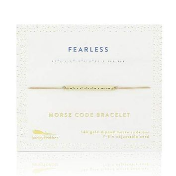 Gold Fearless Morse Code Bar Bracelet