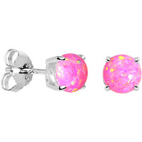 6mm Pink Round Sterling Silver Synthetic Opal Stud Earrings | Body Candy Body Jewelry