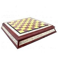 Wood and Silver Chess/Checker Set