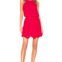 Halston Heritage Round Neck Dress in Cerise