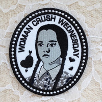 Wednesday Addams #WCW Woman Crush Iron-On Patch ~ Victorian Family Greyscale Cameo Badge Cute Diy Creepy Cute QT Goth Spooky Lolita ~ Wcw