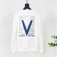 LV Louis Vuitton Fashion casual wild letter print loose long sleeve bottoming shirt