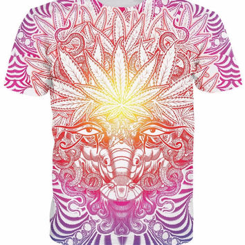 3d Weed Goat t shirt psychedelic baphomet style Weed Leaf tops tees men women fa