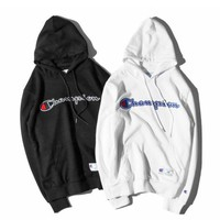 PEAPDQ7 Hot Champion Embroidery Loose Pullover Hoodies Sweater In Black & White