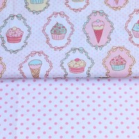 100% cotton twill cloth cartoon cupcake with pink dots fabrics for DIY kids crib bedding cushions clothes handwork quilting tela