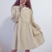 Japanese Soft Lace With Cap Dress