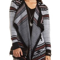 Tribal Print Cascade Cardigan by Charlotte Russe - Multi