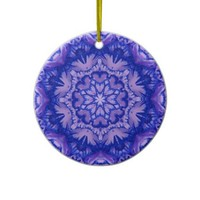 Royal Blue and Lavender Victorian Floral Christmas Tree Ornaments