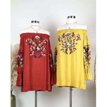 Off the Shoulder Embroidered Dress in More Colors
