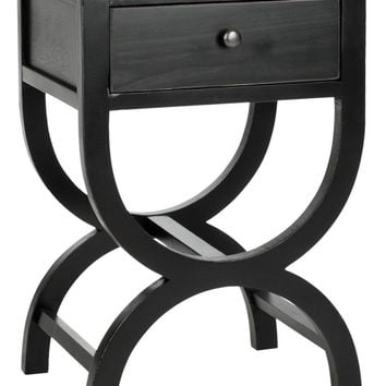 Maxine Accent Table With Storage Drawer Black