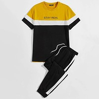 Fashion Casual Men Slogan Graphic Color Block Tee Sweatpants Set