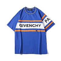 Givenchy 2019 early spring new embroidered letter round neck short-sleeved T-shirt blue