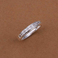Romantic Silver Plated Anniversary Wedding Bands Smtr239