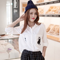 White Cat and Fish Print Button Down Shirt Collar Long Sleeve Blouse