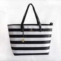 """Kate Spade"" Women Casual Fashion Multicolor Stripe High Capacity Water Bucket Bag Single Shoulder Bag Handbag"