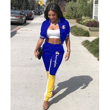 Champion Popular Women Casual Print Top Pants Trousers Set Two-Piece Sportswear Blue