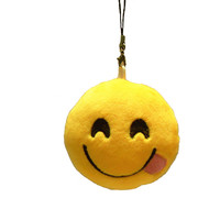 Cute Phone Strap Emoji Emoticon Key Ring Yellow Cushion Stuffed Plush Soft Toy Doll Key Chains Bag Accessory Christmas Z1705
