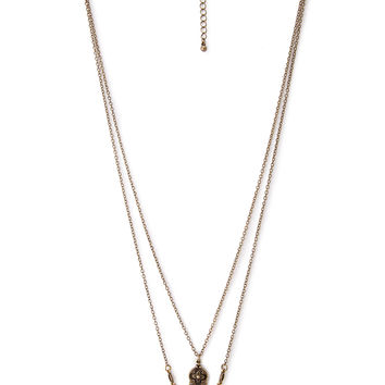 FOREVER 21 Beaded Pendant Layered Necklace Burnished Gold One