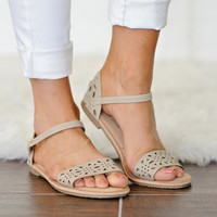 * Shelly Flat Sandal: Taupe