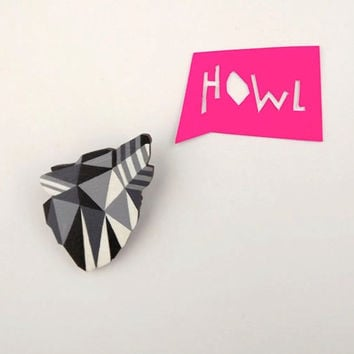 Geometric Wolf Brooch - Black and White
