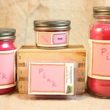 Pink (VS Type) Scented Candle, Pink (VS Type) Scented Wax Tarts, 26 oz, 12 oz, 4 oz Jar Candles or 3.5 Clam Shell Wax Melts