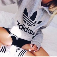 """""""Adidas"""" Print Hooded Pullover Tops Sweater Sweatshirts Black high quality"""