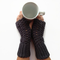 Fingerless gloves, lace gloves, handmade crochet grey acrylic yarn Fall Winter collection Christmas gift slouchy beanie hat