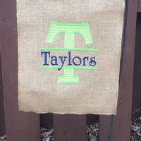 Green Chevron and Navy Personalized Burlap Flag,Monogram Garden Flag, Monogram House Flag, Monogram wedding gift,personalized wedding gift