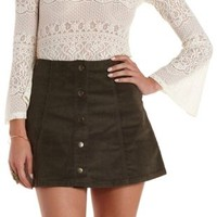 Olive Button-Up Corduroy Mini Skirt by Charlotte Russe