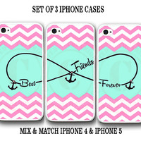Personalized Pink Chevron Mint BFF Best Friends iPhone Case - 3 iPhone 5 Cases