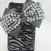 ZEBRA Silver & Black HUGE 3d Bowknot Handmade Crystal & Rhinestone Iphone 4 case/cover by Jersey Bling