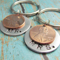 Keychain Set of 2 His Hers Mr. & Mrs. Key Chain Mixed Metals Couple Penny Hand Stamped Charm Choose Penny Year 1950 to 2014 Wedding Gift