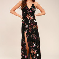 Sugar Land Black Floral Print Maxi Dress