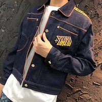 FENDI High Quality Fashion Women Men Casual Denim Cardigan Jacket Coat