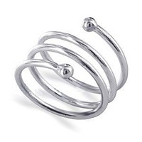 925 Sterling Silver Polished Finish Spiral Ring