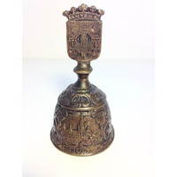 Rare Antique Bronze Bell, Religious Bell, Unique Hand Bell, Steen Cathedral Bell, Anvers Antwerp Belgium, OOAK, 19th century